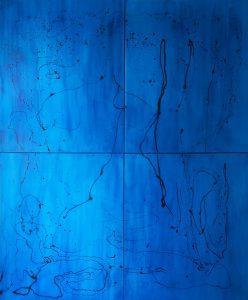 Blaue_Unterwerfung_Aliv_Franz 200 x 240 cm Mischtechnik auf Leinwand 4-teilig